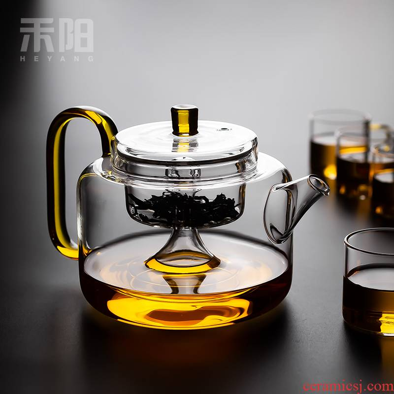 Send Yang glass teapot high - temperature teapot steamed filter tea glass teapot thickening heat - resistant single pot of flower pot