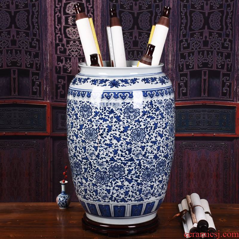 Jingdezhen ceramic painting and calligraphy scrolls cylinder receive barrels of the sitting room is the study of calligraphy and painting, hand - made landing quiver vase furnishing articles