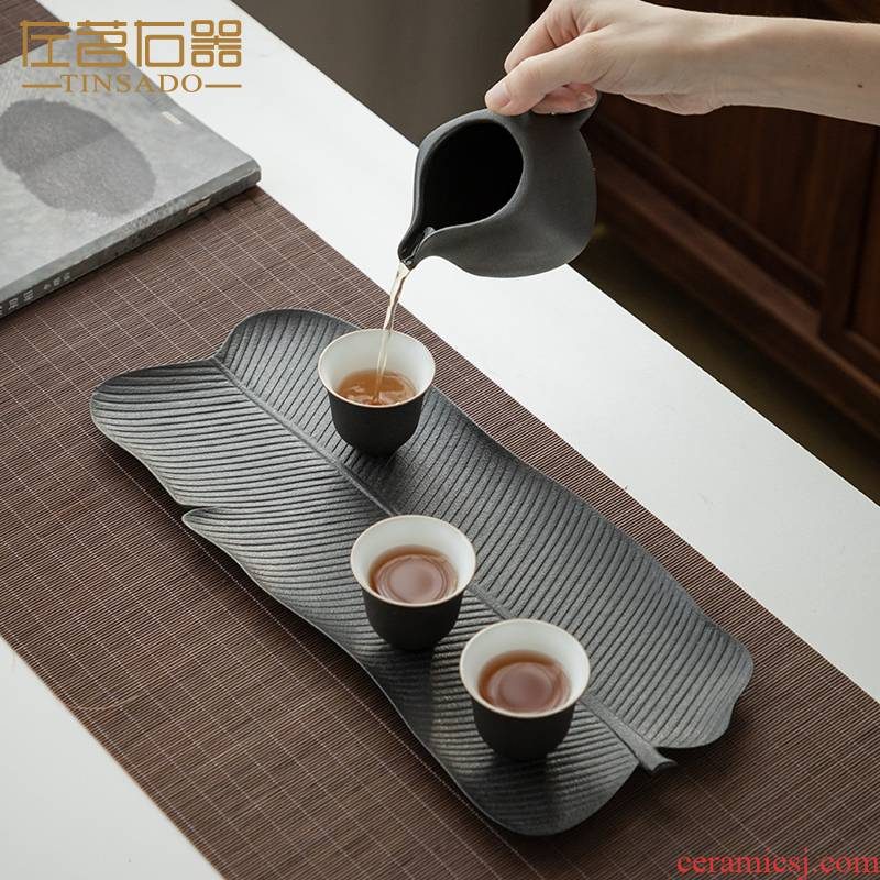 ZuoMing right machine dry terms plate of black rectangle contracted household ceramic saucer plate of Japanese ground water type tea table