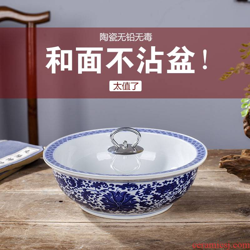 Jingdezhen ceramic and basin basin that wash a face with cover of boiled fish home more large porcelain basin