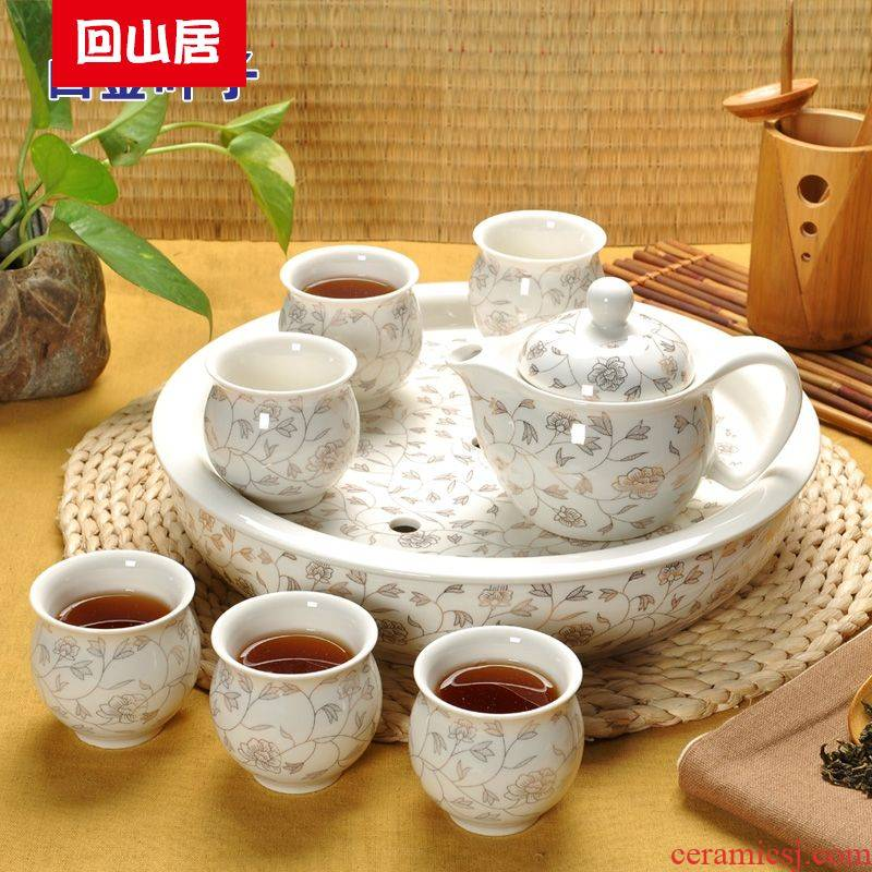 Back at jingdezhen household utensils suit bag mail tea tray tea table of a complete set of double ceramic kung fu tea kettle