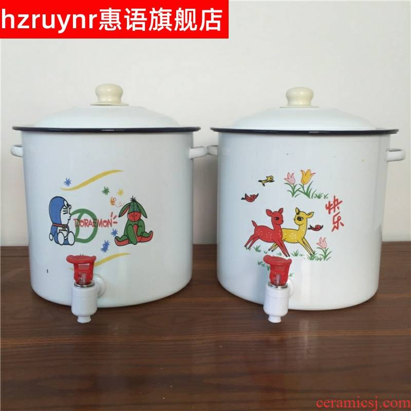 Thickening covered enamel barrel cool tea bucket 7.5 L bucket with water purity bridle detong m detong sugar tea urn