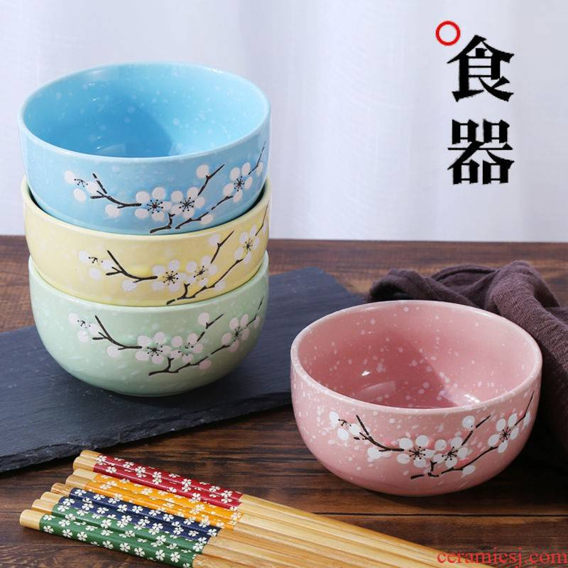 Japanese creative household tableware ceramic bowl set bowl chopsticks sets of rice, a bowl of soup bowl bowl