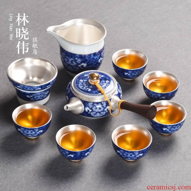 Jingdezhen blue and white porcelain tea set suit Japanese household silver ceramic kung fu tea set side of a complete set of the pot of tea cups