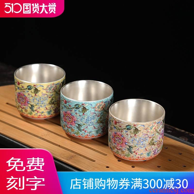 Jingdezhen tea colored enamel porcelain, small sample tea cup silver cup silver 999 master kung fu tea cup single CPU