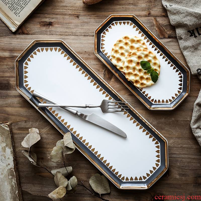 Nordic light much wind paint and ceramic dinner plate dessert salad plate sushi plate accessories receive dish ears tray