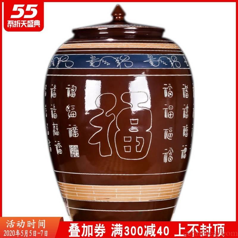 Jingdezhen ceramic jars lead - free thickening brewed liquor cylinder 100 jin wine grape jars 50 kg wine jars