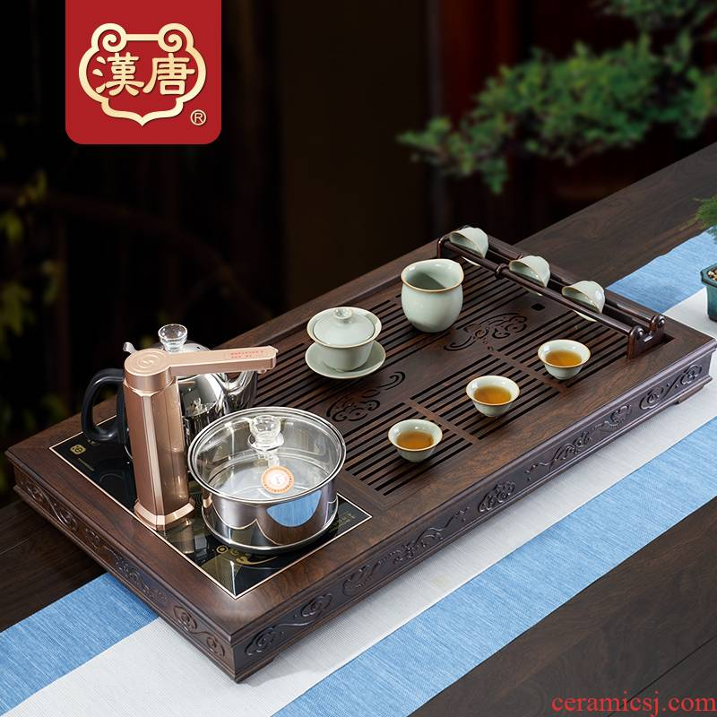 Han and tang dynasties ruyi solid wood home sitting room ground fully automatic large kung fu tea set drainage type tea table