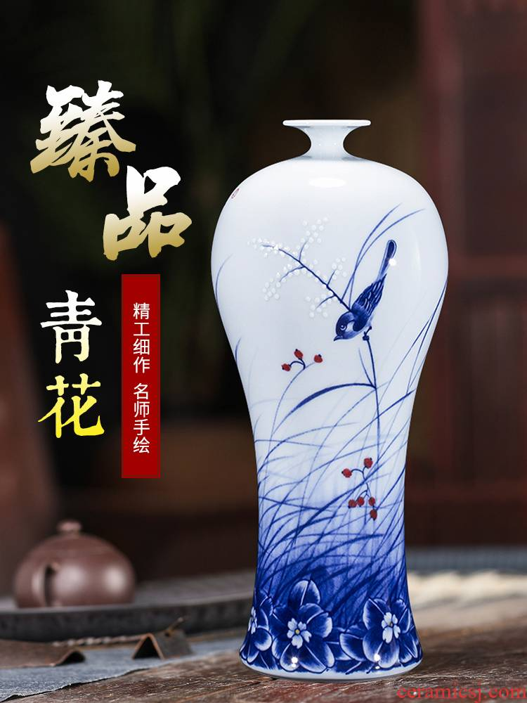 Blue and white porcelain of jingdezhen ceramics hand - made vases, flower arrangement home office sitting room adornment porch ark, furnishing articles