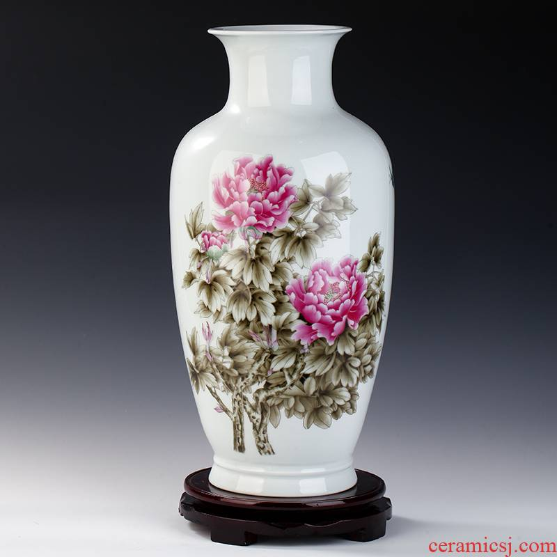 Jingdezhen ceramics powder enamel blooming flowers vase household decoration sitting room porch modern Chinese style furnishing articles