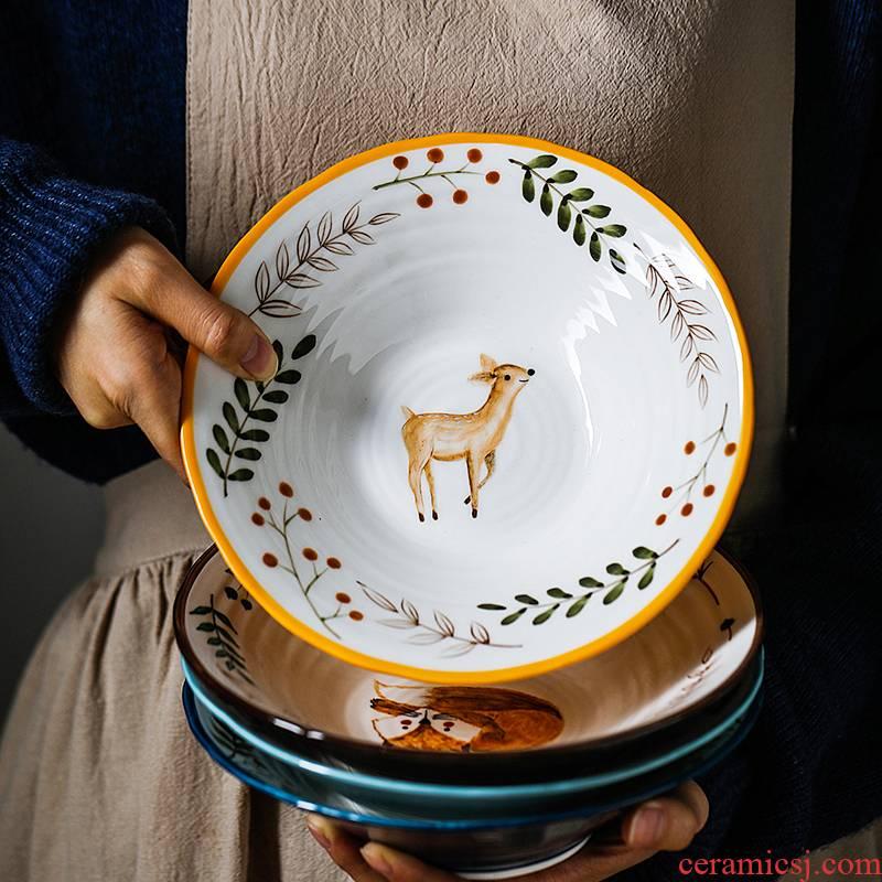 Japanese cartoon express ceramic creative express animal fruit large bowl of beef noodles in soup bowl of sweet fruit salad bowl