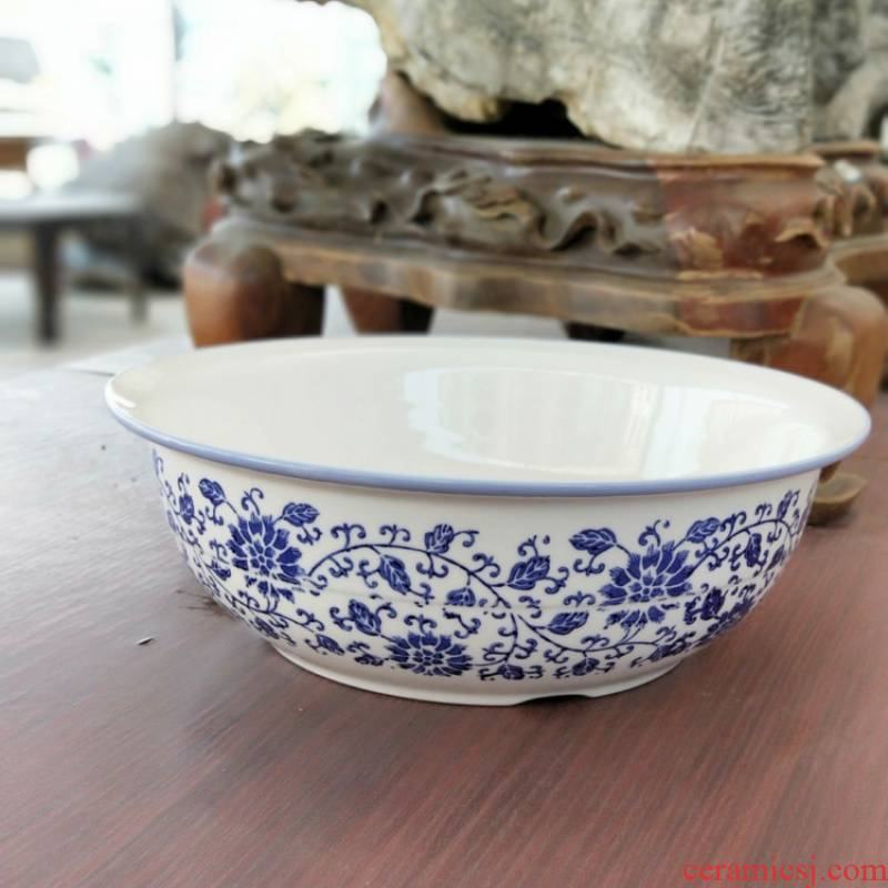 """View the best blue and white porcelain and ceramic face basin basin of household kitchen kitchen work surface """"hair old large add basin"""
