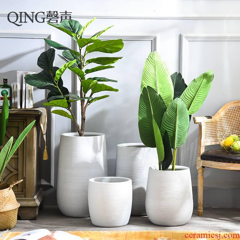 Nordic villa decoration, flower arrangement furnishing articles I and contracted white large ceramic vase landing creative flower pot