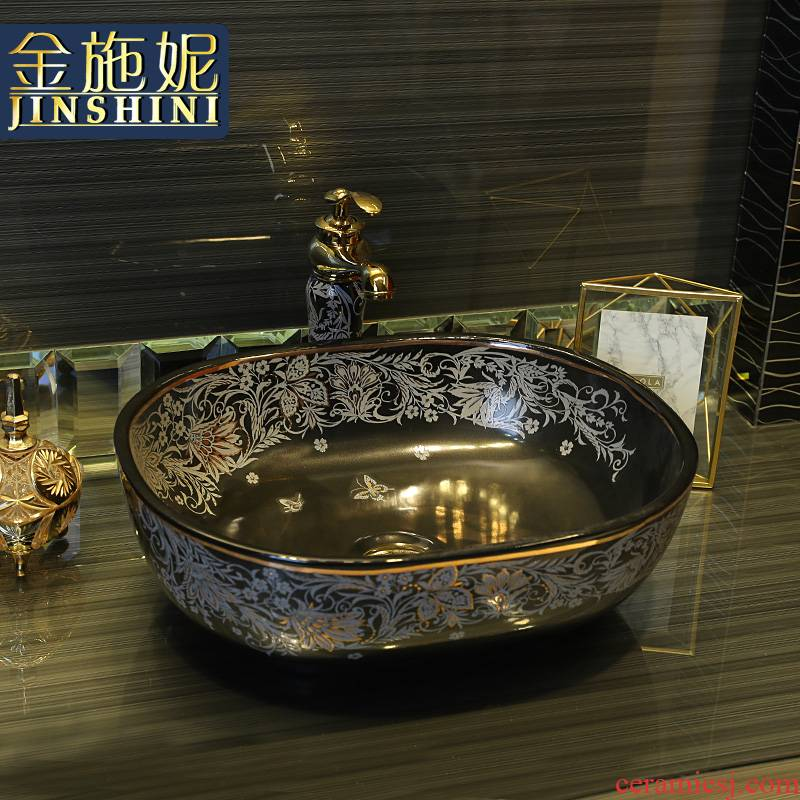 Gold cellnique black ceramic contracted art on the stage of the basin that wash a face basin of Chinese style sink basin of wash one 's hands and oval