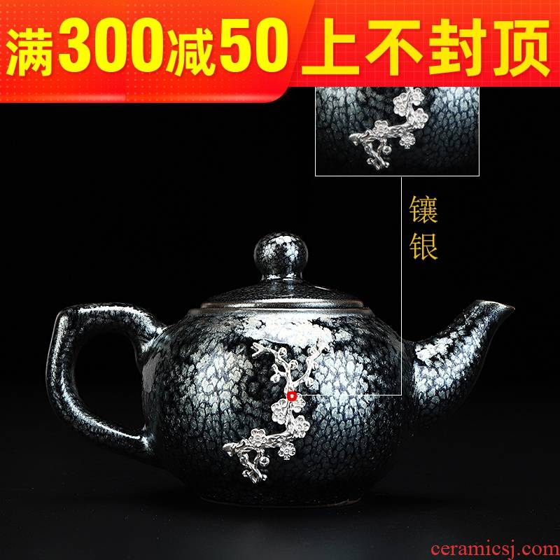 Build light silver teapot droplets temmoku glaze fetal iron teapot household ceramics up kung fu tea pot