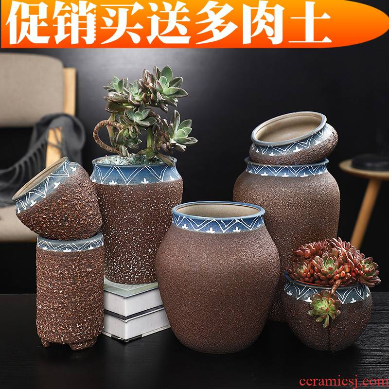 Fleshy flower pot size basin of the old running the special creative move of large diameter coarse pottery breathable ceramic flesh POTS of the plants