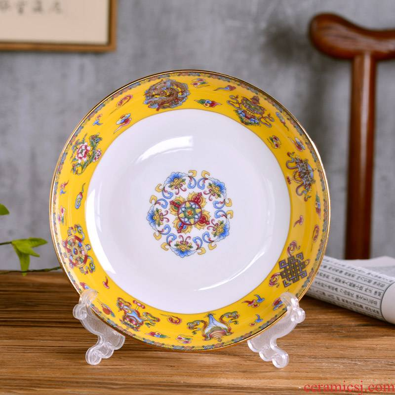 """8 """"jingdezhen ceramic deep dish of Chinese style household ipads porcelain dish of rice soup plate antique cutlery tray package mail"""