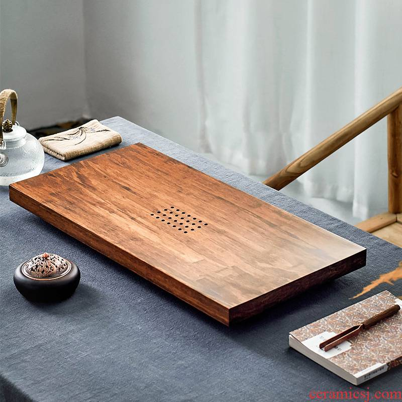 Qiu time household kung fu tea tea table heavy bamboo tea tray filling type rectangular tray was contracted tea tea tray