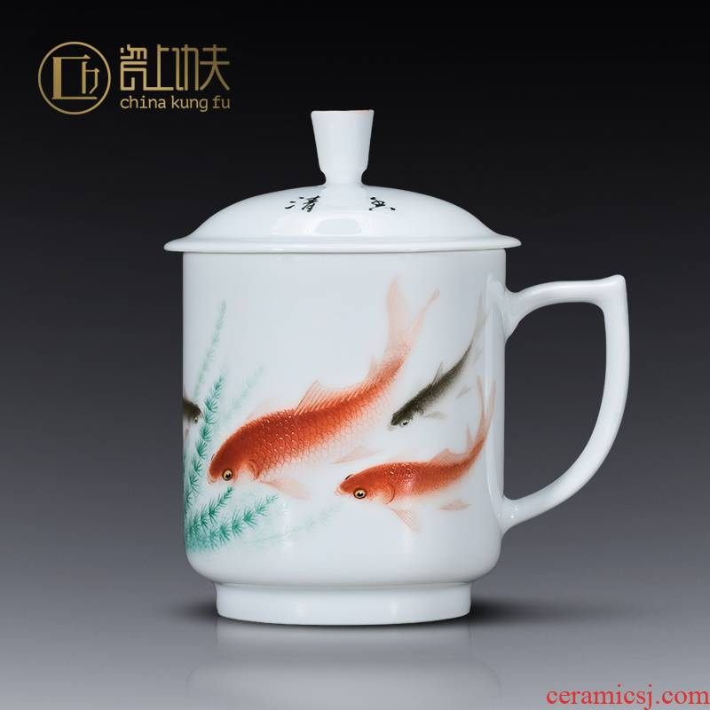 Jingdezhen ceramic cups famous hand - made office cup with cover of water cup big boss cup enterprise custom collection
