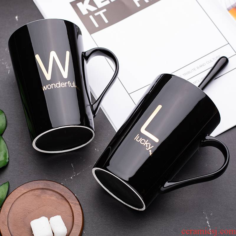 Creative water mark cup men 's and' s household with cover glass ceramic spoon move trend milk cup of coffee for breakfast