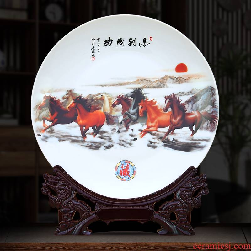 To jingdezhen ceramic decoration dish hang dish success customized porcelain furnishing articles sitting room process