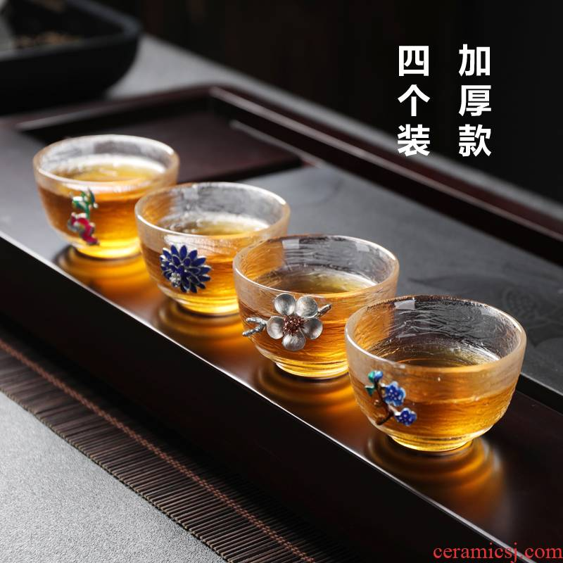 Pyrex Japanese hammer mesh sample tea cup set small kung fu tea cup transparent glass home four