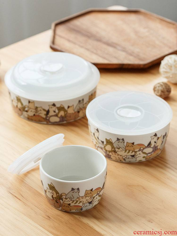 A lazy cat round ceramic preservation bowl with cover three - piece household work the microwave lunchbox refrigerator crisper