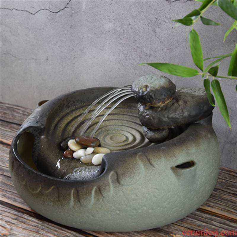 Chinese water coarse porcelain atomizing humidifier zen home furnishing articles furnishing articles office creative decorations rocks