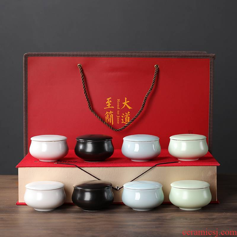 Sealed ceramic small tea caddy fixings box travel warehouse storage tank pu 'er tea pot receives the tea gift box packaging
