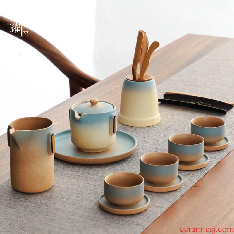Bo yiu-chee Japanese coarse pottery kung fu tea set household ceramic teapot teacup of a complete set of gift set tea gift boxes