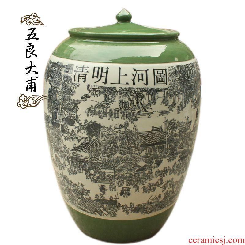 It jars 100 jins Jingdezhen ceramic wine jar qingming scroll mercifully jars mercifully bottle