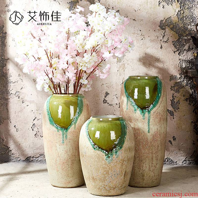 Be born vase large white dried flowers floral I and contracted sitting room European American ceramic pottery flowerpot furnishing articles