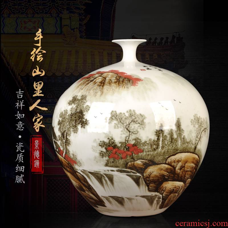 Jingdezhen ceramics furnishing articles antique hand - made pomegranate vase flower arranging rich ancient frame sitting room of Chinese style household ornaments