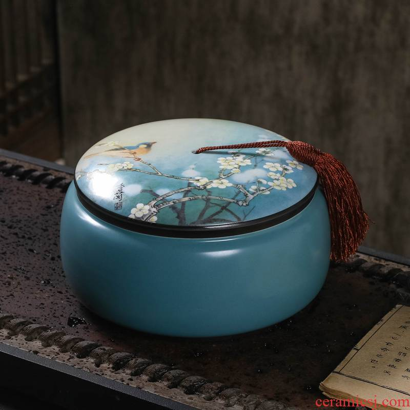Huai who spinosa, jingdezhen ceramic tea pot with cover deposit receives half jins of household contracted seal tea boxes