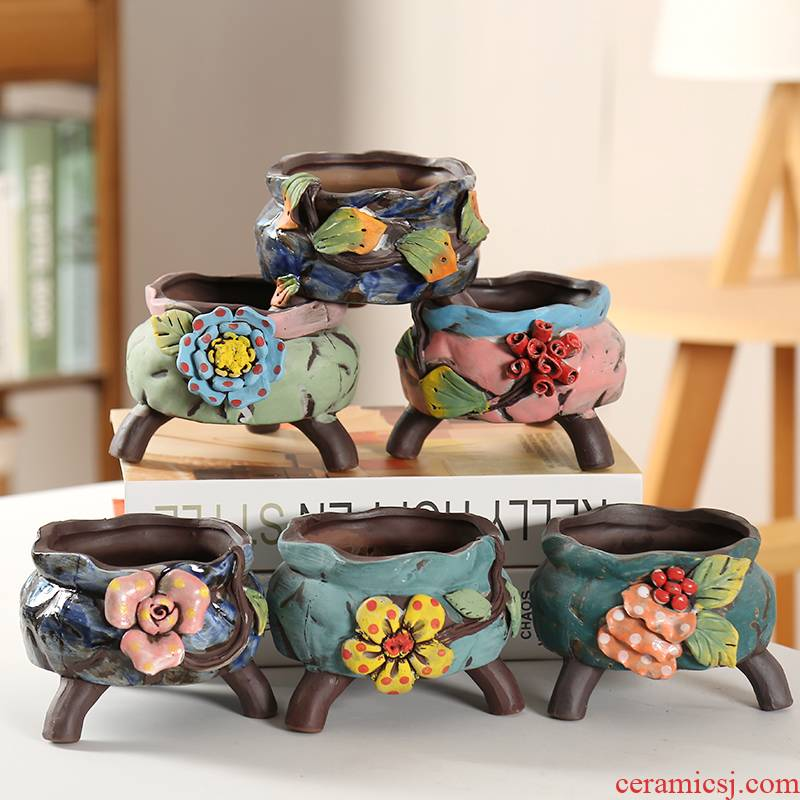 End more meat flowerpot ceramic pinch cost large Korean platter exquisite individuality creative coarse pottery breathable footbath