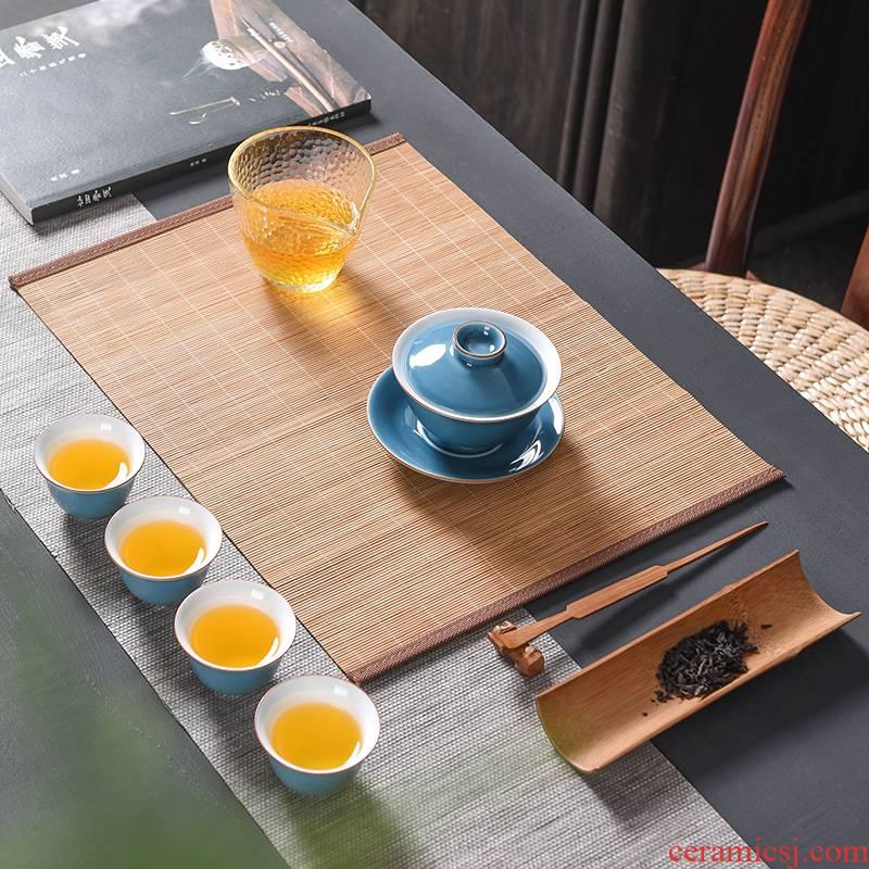 Tao lucky bamboo mat bamboo tea tea table flag tea bamboo mat accessories zen Japanese tea custom