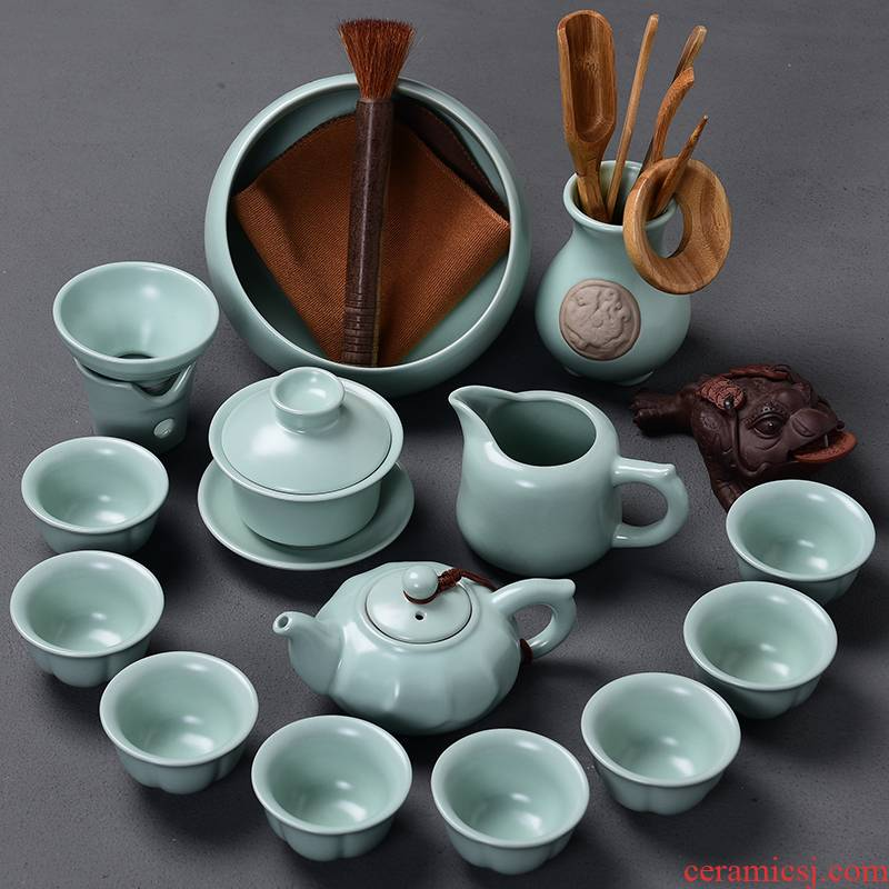 Tao blessing of household ceramics kung fu tea set a complete set of your up teapot teacup tea wash to gift set, tea set