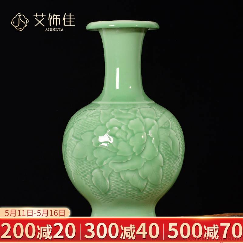 Jingdezhen ceramic antique shadow carving craft vase decoration flower arrangement of Chinese style living room TV cabinet porch place