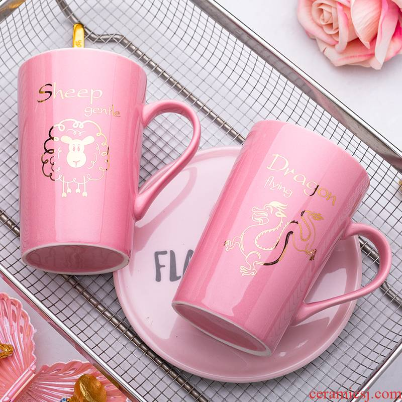 Zodiac water glass ceramic keller with spoon, creative move trend picking household milk coffee cup men and women