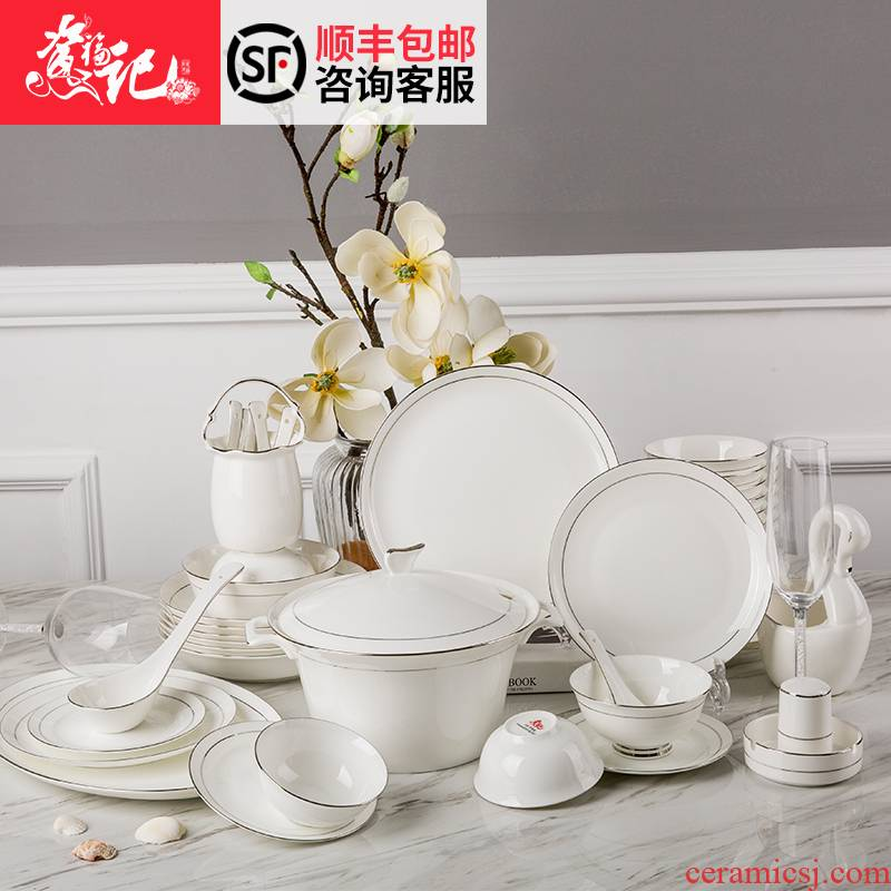 High - grade ipads porcelain paint tableware suit European contracted dishes suit home dishes wedding tableware housewarming gift
