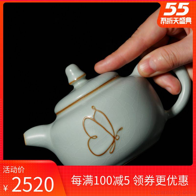 Manually open the slice your up ceramic teapot single pot of tea for its ehrs gift boxes of jingdezhen celadon archaize porcelain of song dynasty