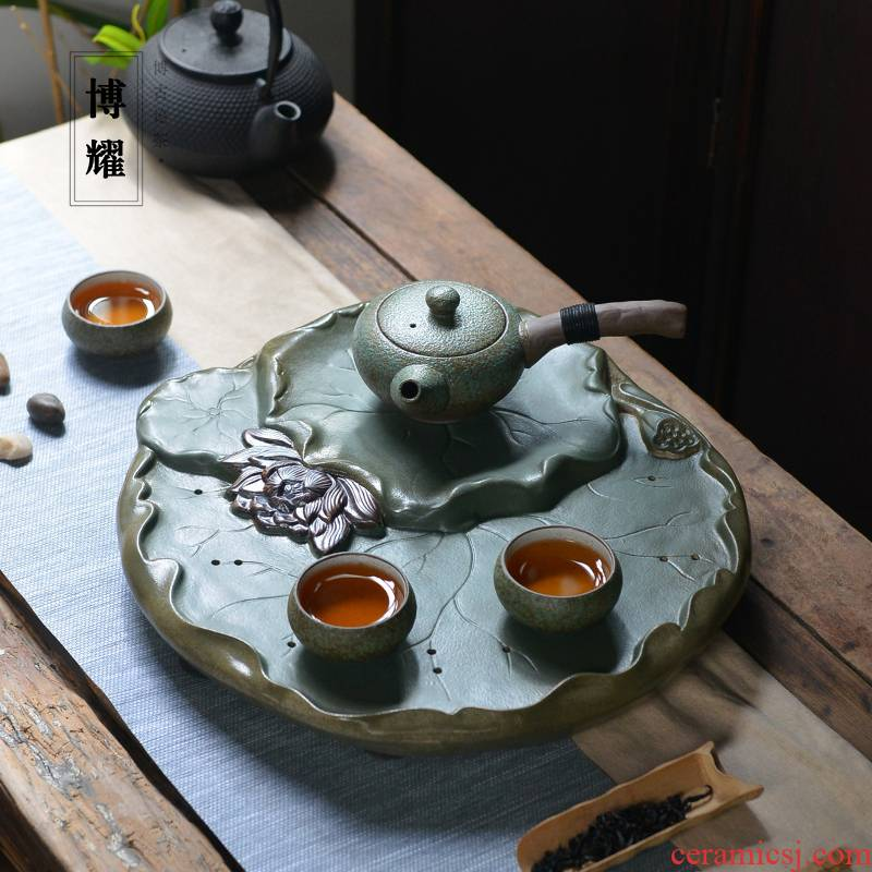 Bo yiu-chee ceramic tea tray household contracted round large coarse TaoGan mercifully Taiwan zen Japanese water tray package