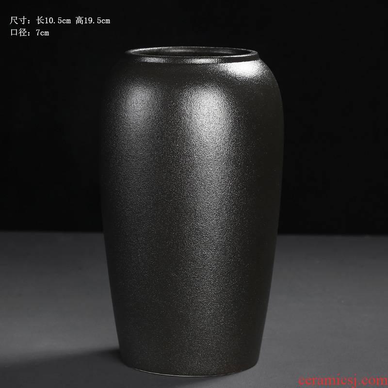 Simple black ceramic vase furnishing articles porch zen style restoring ancient ways dry flower flower arranging flower implement coarse some ceramic pot vase
