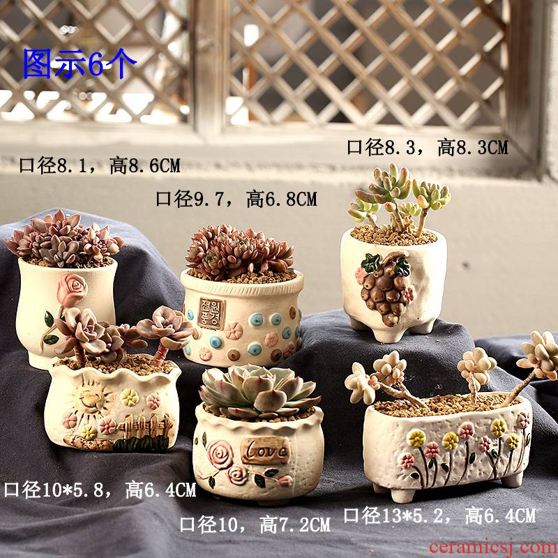 End fleshy flowerpot ceramic biscuit firing breathable small number of special offer a clearance package mail pastoral flesh POTS, coloured drawing or pattern