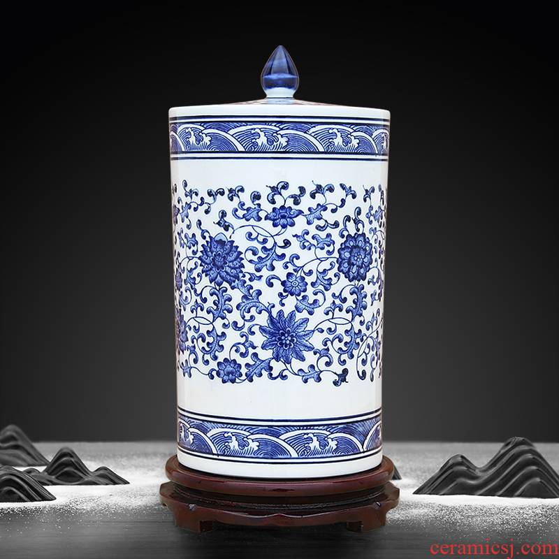 Jingdezhen blue and white porcelain storage tank bound branch lotus lines straight who mandarin orange red, green tea, pu 'er as cans not sealed with cover
