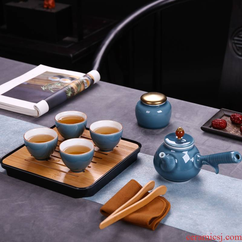 Kung fu tea set jingdezhen ceramic household teapot teacup portable travel a shadow of a complete set of green tea set