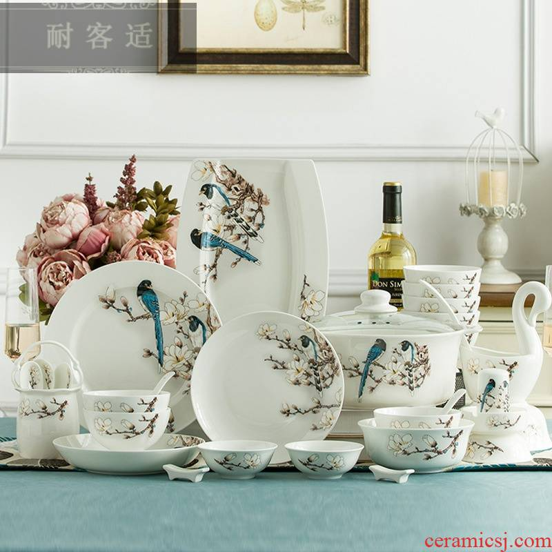 Hold to guest comfortable jingdezhen bowls of ipads disc suit ceramic tableware suit Chinese style household use plate tableware