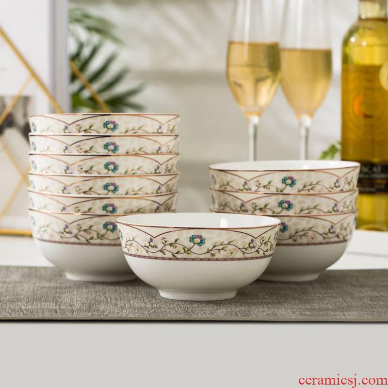 "5 ""10 pack 】 【 large bowl of jingdezhen ceramic bowl rice bowls ipads porcelain tableware suit bowl of soup bowl"