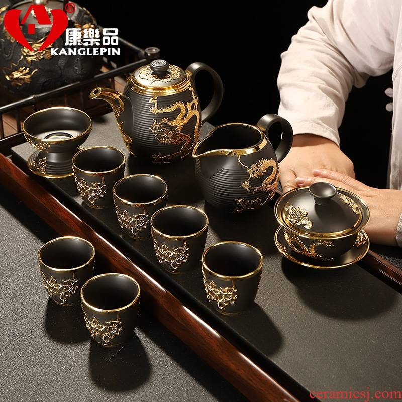 Recreational product gold suit of a complete set of yixing purple sand tea sets ceramics kung fu palace wind tureen gold cup teapot