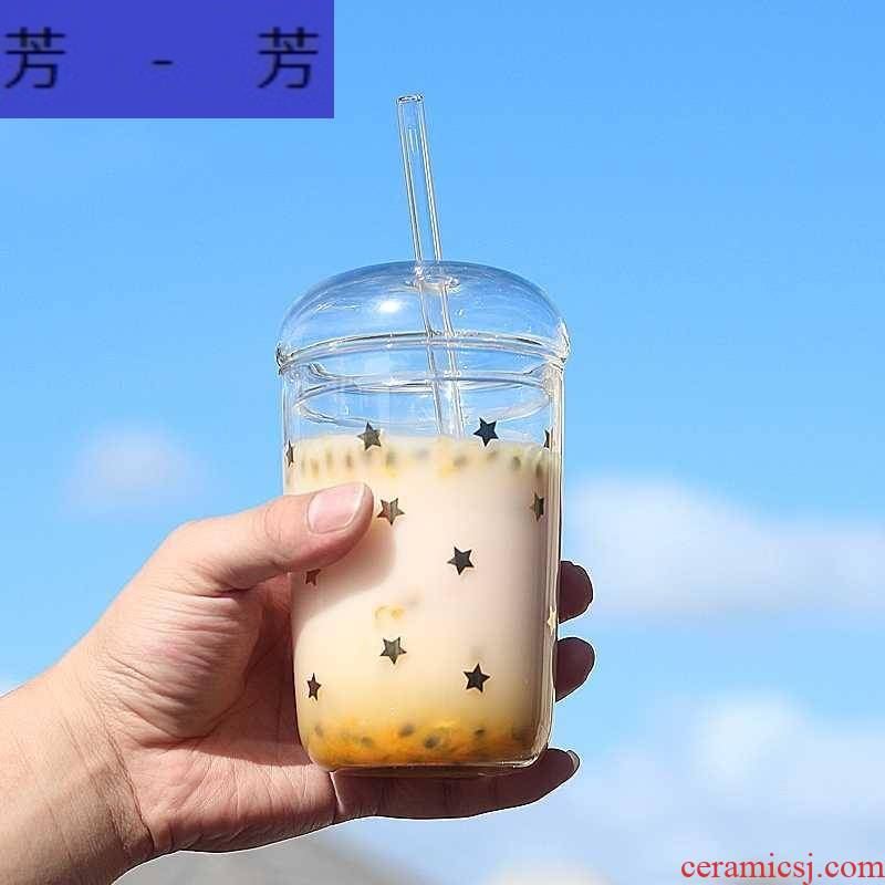 Portable environmental trill fake pearl milk tea cup double milk tea Pyrex glass with suction cup creative stars